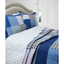 NEW Twin Full Queen King 3 pc Blue Patchwork Reversible Quilt Coverlet Bed Set