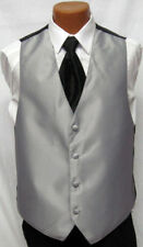 Mens Silver Gray Jean Yves Tuxedo Fullback Vest Prom Wedding Small Med Large