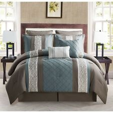 NEW Queen King Bed Bag Blue Taupe Stripe Embroidered Pleat 8 pc Comforter Set