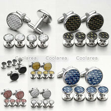 Mens Stainless Steel Wedding Silver Black Cuff Links Cufflinks & Shirt Stud Set