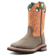 John Deere Johnny Poppers Youth  Round Toe Leather Brown Western Boot