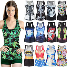 Casual  Digital Print Tank Top Vest Blouse Gothic Women Clubwear Party T-Shirt
