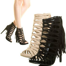 Peep Toe Fringe Criss Cross Strappy Cage Gladiator High Heel Pump Sandal Booties