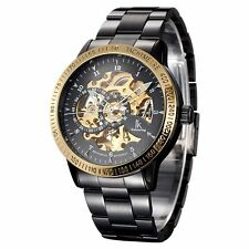 IK Colouring Skeleton Perspective Stainless Steel Automatic Mechanical Men Watch