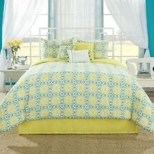 NEW Twin Full Queen King Bed Blue White Yellow Floral Squares 7 pc Comforter Set