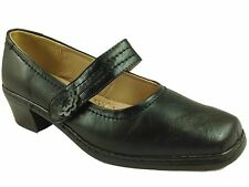 Ladies Cushion Walk Black Velcro Block Heel Mary Jane Court Shoe Size- Phillipa
