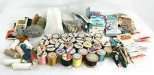 Vtg Sewing Items Sylko Cotton Reels Silk Nylon Thread Needles Buttons Fasteners