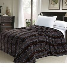 NEW Twin Queen Size Bed Brown Tan Snake Skin Animal Print Warm Fleece Blanket