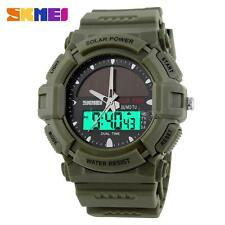 Men Sport Solar Power Date Backlight Digital-Analog Waterproof Army Watch X7Q7