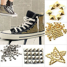 100x Fashion Square Pyramid Rivet Metal Studs Spots Spikes Punk Leathercraft DIY