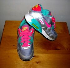 Girls Nike Air Max Silver Pink Blue Tennis Athletic Sneaker Shoes Size 1Y