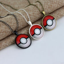 Fashion Silver Anime Pokemon Pokeball Jewelry Glass Dome Pendant Necklace New