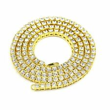 24K Gold Plated Necklace 1 Row Rhinestone Diamond Iced Out  Jewelry24inch-30inch