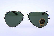 NEW RAY BAN RB3025 L2823 AVIATOR ARISTA BLACK /GREEN LENS SUNGLASSES 58mm