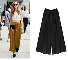 Elastic waist skirt pant casual loose Big swing New Culottes Wide leg pants