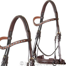 Heinick Bridle ~ Supreme Amber Brown ~ Double bridle incl. 2 Leather reins NEW