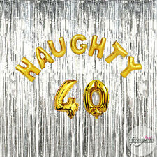 Naughty 40 Birthday Foil Balloons Party Decorations Functions Gold Silver 40th