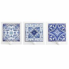 Moroccan Design Blue & White Ceramic Tile & Wood Single Wall  Hook 3 Designs