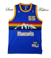 Dikembe Mutombo 55 Denver Nuggets Jersey Rainbow Throwback Basketball Retro Blue
