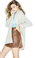 NWT GUESS $128 Drapey Cable Long Cardigan Coatigan Off White M 6 7