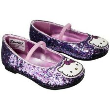 NWT Girls' Hello Kitty Shoes Pink Purple Glitter Ballet Flat  Mary Jane   2