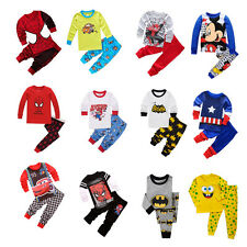 Kids Baby Boy Spiderman Captain America Costume Outfit Homewear T-shirt+Pants