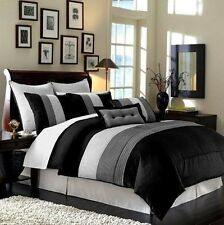 NEW Full Queen King Bed 8 pc Black Gray Grey Stripe Comforter Set Faux Silk NWT