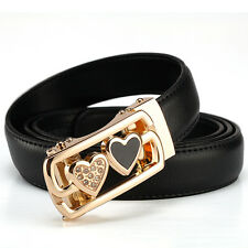 Fashion Women Leather Wide Belt with double heart Automatic Buckle
