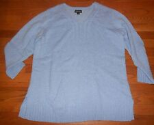 Womens Avenue Light Blue V- Neck Button 3/4 Sleeve Sweater Plus 18/20