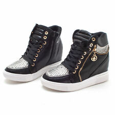 Womens Hidden Heel Elavator Shoes 7cm Hip Sneakers Faux Leather Boots