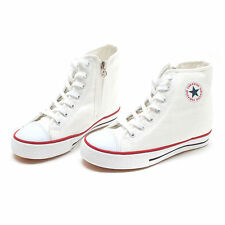 Womens Ladies Canvas Zip Zipper High Top Canvas Sneakers Athletic Casual Shoes