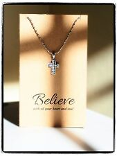 Lea Cross Necklace, Cubic Zirconia, Rhodium Plated, 925 Sterling Silver