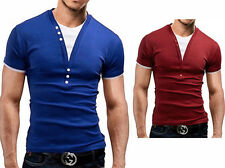 Fake two Pieces Fashion Men Hot Slim short sleeve T-Shirt Deep v-Neck Summer