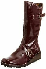 New Fly London Mes 2 Purple Zip Up Boots Womens Leather Ladies Size UK 4-9