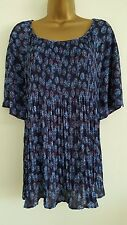 NEW PER UNA M&S Size 14-16 Blue Floral Pleated Printed Chiffon Top Blouse