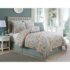 NEW Queen King Bed 8 pc Blue White Classic Floral Comforter Sham Set Elegant NWT