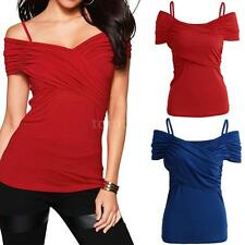Casual Women T-Shirt Stretchy Top Off the Shoulder Tee Blouse Shirt Solid F2N1
