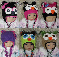 New Handmade Owls Hat Eagle Hat Knit Crochet Hat Baby Hat Newborn Photo Prop Hat