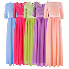 Women Summer Lace Prom Long Party Dress Bridesmaid Wedding Beach Dress Fashion