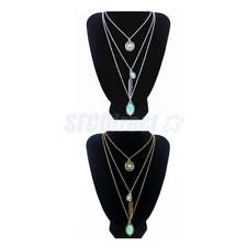 Women Multilayer Turquoise Beads Charm Feather Pendant Long Chain Boho Necklace