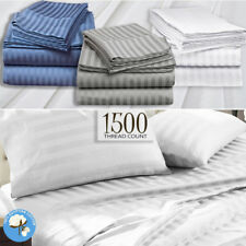 1200TC Egyptian Cotton Stripe Sheet Set Doona Duvet Quilt Cover Hotel - All Size