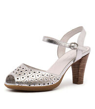 New Django & Juliette Wappa Washed Silver Leather Women Shoes Heeled Sandals