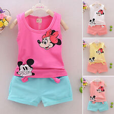Minnie Mickey Mouse Suit Kids Baby Girls Sleeveless Tank Top+ Shorts Outfits Set