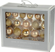 42 Glass Christmas Tree Hanging Baubles Glittery Shiny Matte Bauble Decorations
