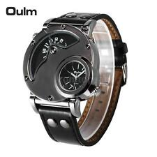 OULM 9591 Military Dual Time Movement Mens Leather Band Quartz Wrist Watch G8D0