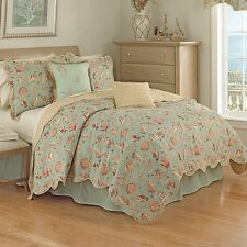 NEW Full Queen King Size Bed Blue Beige Coral Seashell 4 pc Quilt Coverlet Set