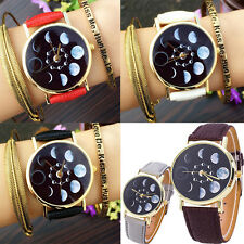 Men Women Watch Leather Moon Phase Astronomy Space Analog Quartz Wrist Watch