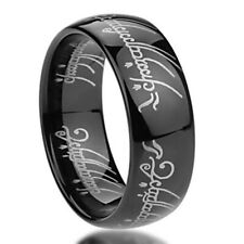 8mm Stainless Steel  316L Ring Laser Lord of Rings Black Color Band / Gift box