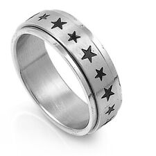 7mm Stainless Steel 316L Ring Black Color Star Engraved Spinner Band / Gift box