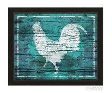 Click Wall Art Distressed Blue Wood Rooster Framed Painting Print